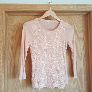 J. Crew blush pink lace front shirt